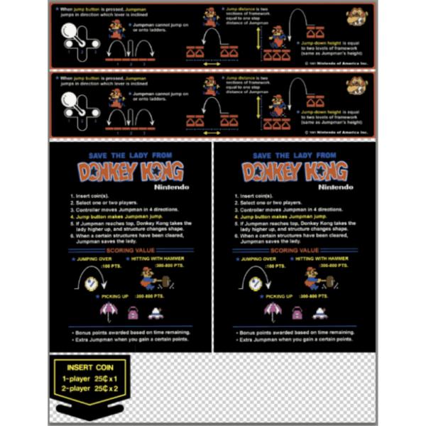Donkey Kong Cocktail Instruction sticker set